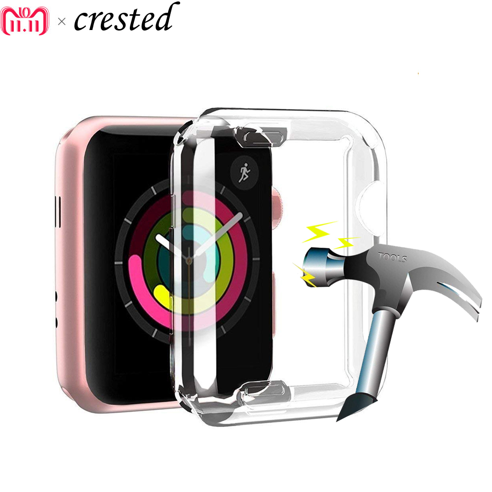 CRESTED Screen protector case for apple watch 3/2/1 42mm/38mm Iwatch silicone soft All-around Ultra-thin Clear Cover accessories bumvor for apple watch 3 2 1 screen protector tpu all around protective case clear ultra thin cover for apple watch 42mm 38mm