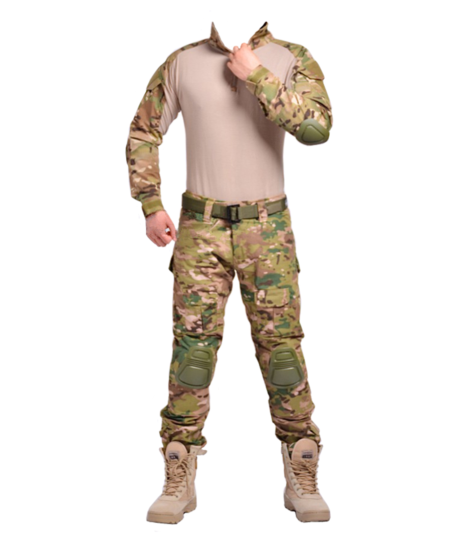 2017 Men s Army Military Equipment Airsoft Paintball BDU Clothes Combat G3 Tactical Uniform Shirt Pants Knee Pads Multicam CP