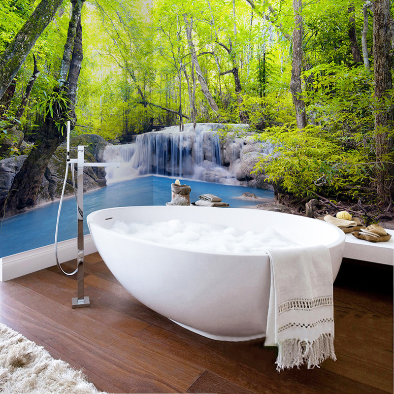 PVC Self-Adhesive Waterproof Photo Mural Wallpaper Green Forest Waterfall Nature Scenery 3D Wall Sticker Bathroom Backdrop Mural