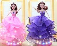Sweat Light Barbie Toy Princess Set Wedding Dresses Little Girl Birthday Gift Children Electric Toys