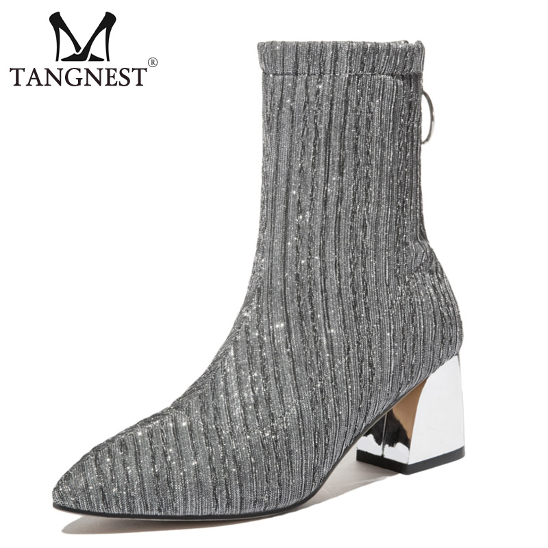 Tangnest Sexy Women Ankle Boots Party High Heels Silver Ladies Pointed Toe Sock Boots Casual Low Heels Shoes Woman XWX6964