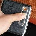 Cigarreira de couro com USB isqueiro eletrônico recarregável mais leve caixa de cigarro isqueiros recarregáveis Preto para os homens