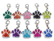 50pcs/lot Colors Bling bear dog paw print with lobster clasp diy hang pendant charms fit for keychains jewelrys