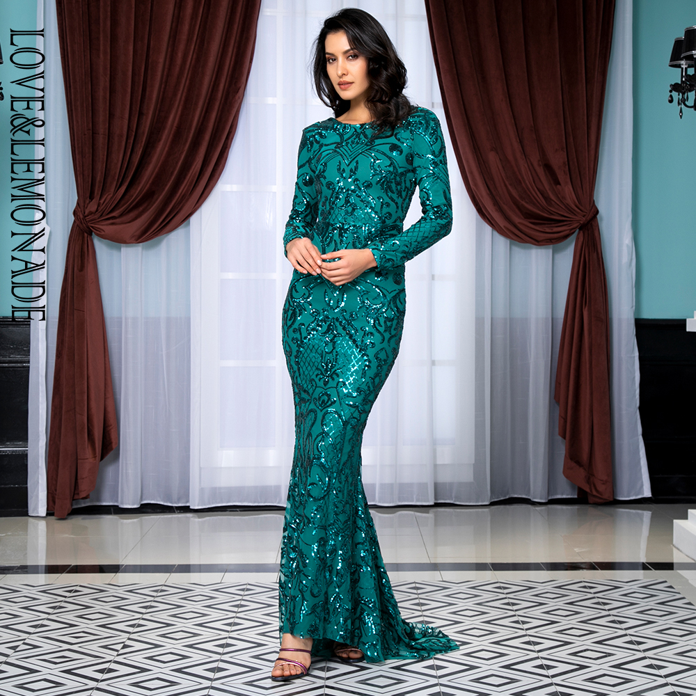 Love&Lemonade Sexy Round Neck Open Back Geometric Element Sequins Material Bodycon Long Sleeve Long Dress  LM81238 GREEN-in Dresses from Women's Clothing    1