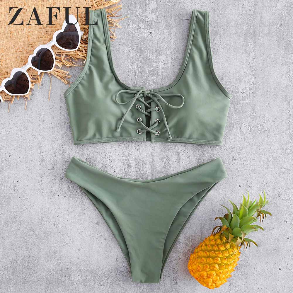 ZAFUL Scoop Lace Up Bikini Set 2019 Swimwear Scoop Neck Padded Swimsuit Women Solid Basic Bathing Suit Sexy Push Up Bathing Suit