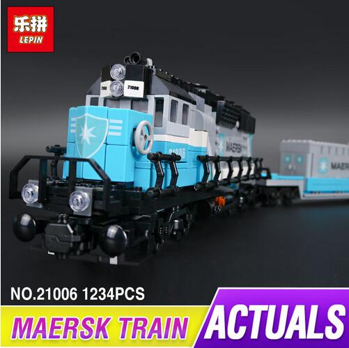 Lepin 21006 New 1234Pcs Genuine Technic Ultimate Series The Maersk Train Set Building Blocks Bricks Educational Funny Toys 10219 lepin 21006 compatible builder the maersk train 10219 building blocks policeman toys for children