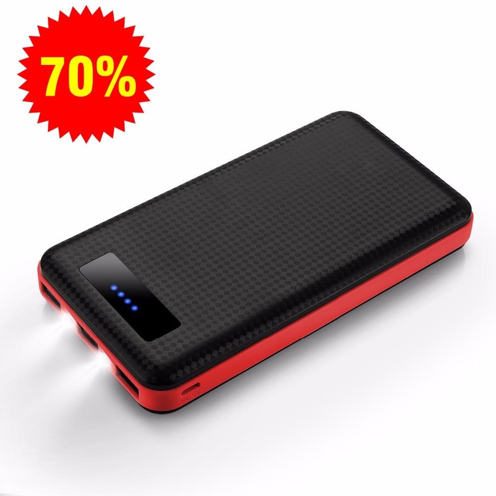 bilder für Energienbank, 20000 mah ultradünne 3-port batterie tragbares ladegerät withflashlight einfach zu tragen für galaxy s6, iphone5s, iphone6s plus