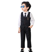 2019 Baby Boy Suit Wedding Suits for Boys Tuxedo Set Gentleman Wedding Suits Kids Boys Dresses Formal Suits(Vest+Shirt+Pant) brand wedding suit for flower boys campus student formal dress gentleman kids blazer shirt pant bowtie 4pcs ceremony costumes