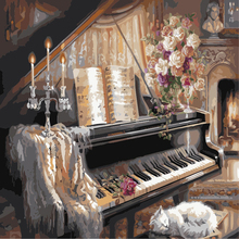 Hand painted 40*50cm canvas painting vintage home decor wall pictures for living room painting by numbers Piano cat picture