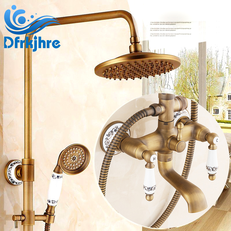 New Antique Brass Bathroom Shower Faucet W/ White And Blue Porcelain Hand Shower new bathroom antique brass tall single blue and white porcelain handle basin faucet g 902
