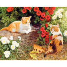 Frameless DIY Painting By Numbers Acrylic Paint On Canvas Flowers Kitten Handpainted Oil For Home Decor 40x50cm