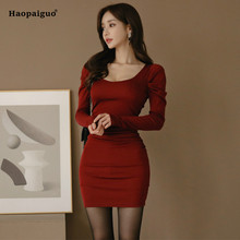 Plus Size Bodycon Bandage Dress 2019 Women Spring Burgundy Long Sleeve O-neck Sexy Club Dress Casual Party Elbise Vestidos Mujer цены