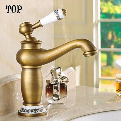 2014 New Brass Antique Bronze Faucet Bathroom Sink Faucet China Blue And  White Porcelain Vintage Faucet