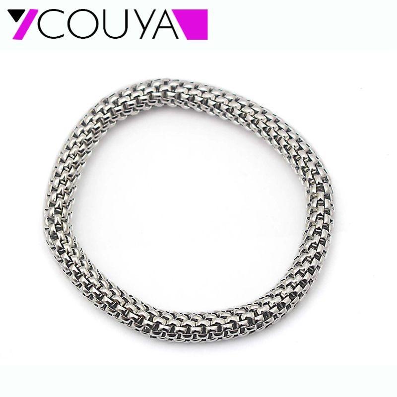 7,5MM rozsdamentes acél fém ezüst stretch karkötők, kerek láncok, nők, férfi, feszített háló karkötő, szép ajándék hosszúság, 16-20mm