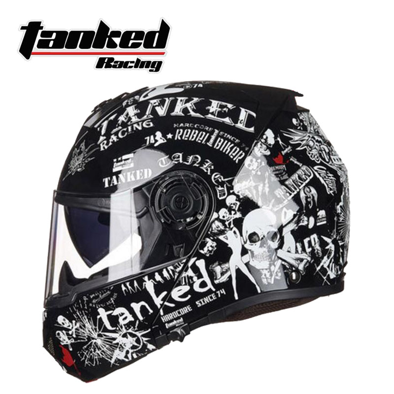2018 New Tanked Racing Double lens Flip Up Motorcycle Helmet T270 Open Face Motorbike helmets made of ABS and PC lens visor ECE