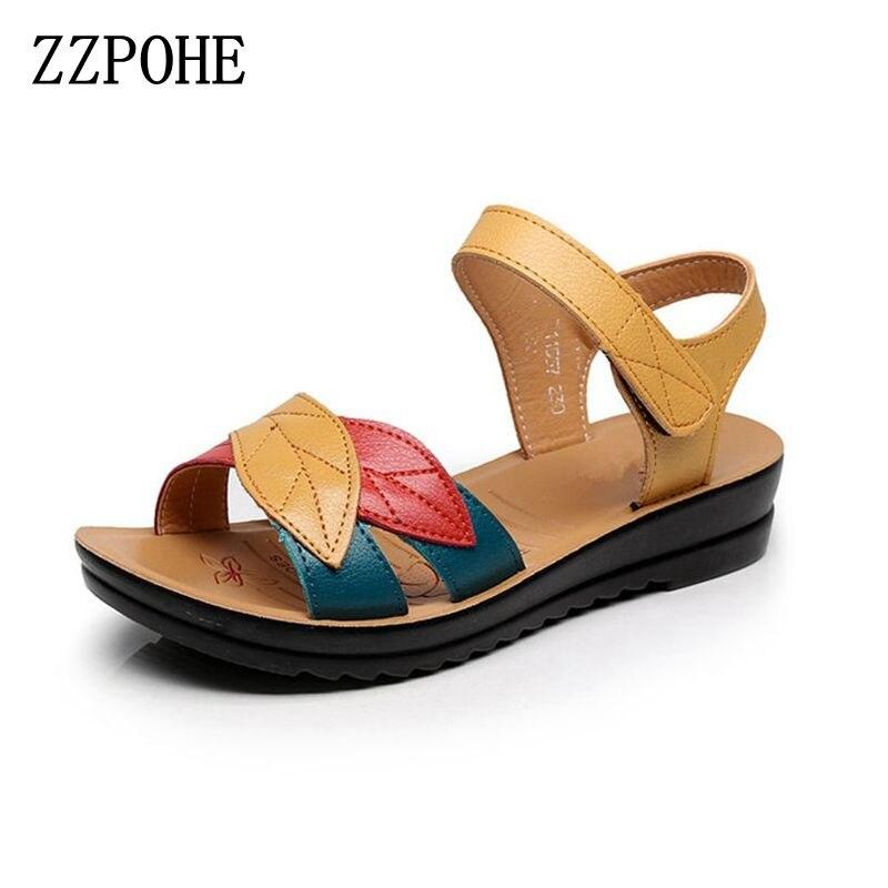 ZZPOHE d'été nouvelle mère sandales fond mou anti-dérapage d'âge moyen de mode Femme sandales plates confortables chaussures de femmes 35 41