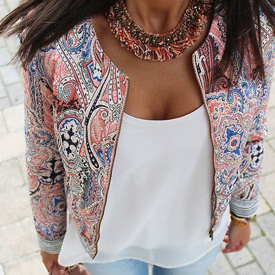 Fashion Women FloralPrint Long Sleeve Zipper Coats Autumn Spring Women Clothes