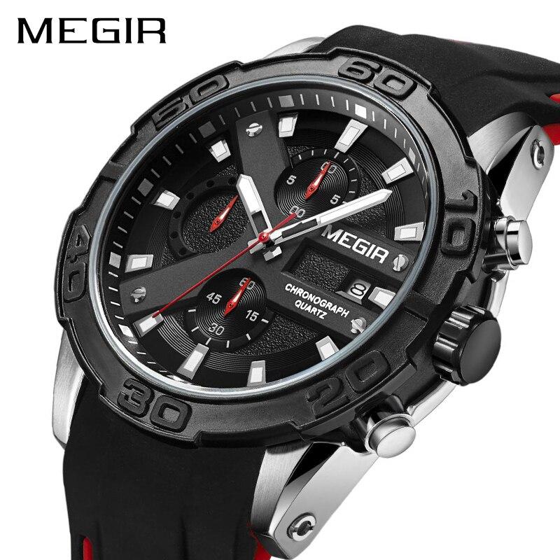 все цены на MEGIR Chronograph Sport Watch Men Relogio Masculino Top Brand Fashion Silicone Quartz Army Military Wrist Watches Clock Men 2055 онлайн