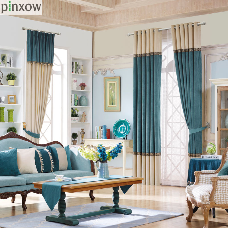 Modern Solid Curtains For Living Room Teal Velvet Fabric Drapes Natural  Patchwork Window Trim Soft Shade