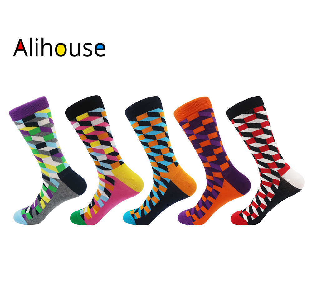 Alihouse Men Socks Happy Socks 5 Pairs/lot Funny Colorful Argyle Pattern Combed Cotton Casual Crew Socks Dress Wedding Socks Men