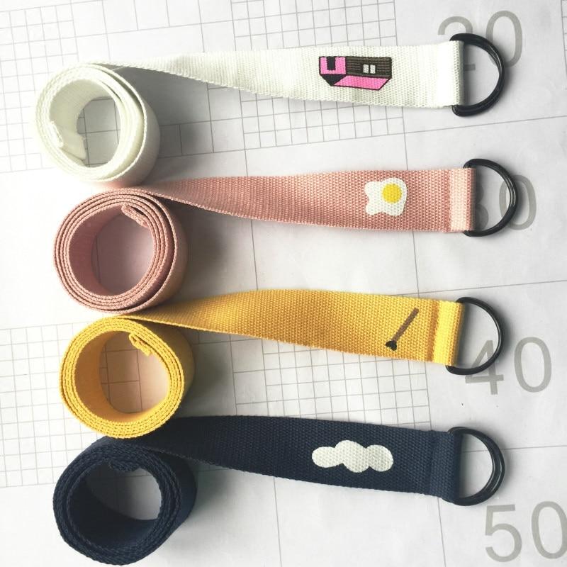 Japanese Harajuku Kawaii   Belts   For Women Double Buckle 2018 Korean Ulzzang Funny Printing Candy Color Unisex Canvas Waistband