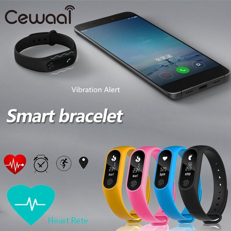 Cewaal Popular M2Plus Heart Rate Monitor Waterproof Smart Wristband Pedometer Call Reminder Sport Bracelet Tracker colorful