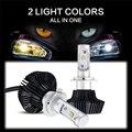 Auxmart 50w H7 Car LED Headlight Bulbs Yellow Light 3000K White Light 6500K 50W 8000lm CSP Chip Headlamp Fog Lights 1