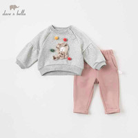 DBZ8919 dave bella autumn baby girl fashion clothing sets girls lovely long sleeve suits children print clothes