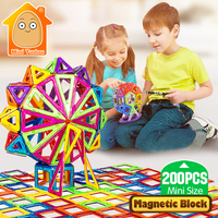 Minitudou New 200pcs Mini Magnetic Blocks Building Construction Blocks Toy Bricks Magnet Designer 3D Diy Toys