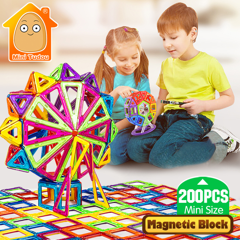 Minitudou 200pcs Mini Magnetic Blocks Constructor Building Bricks 3D DIY Magnet Designer Educational Game Toys For Children 10pcs lot new brand lcd display touch panel for pioneer s90w s90 90 touch screen white color mobile phone lcds free shipping
