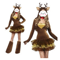 Winter Christmas Deer Cosplay Costumes Long Sleeves Sexy Elk Dress Halloween Costumes For Women Elk Costume With Tutu