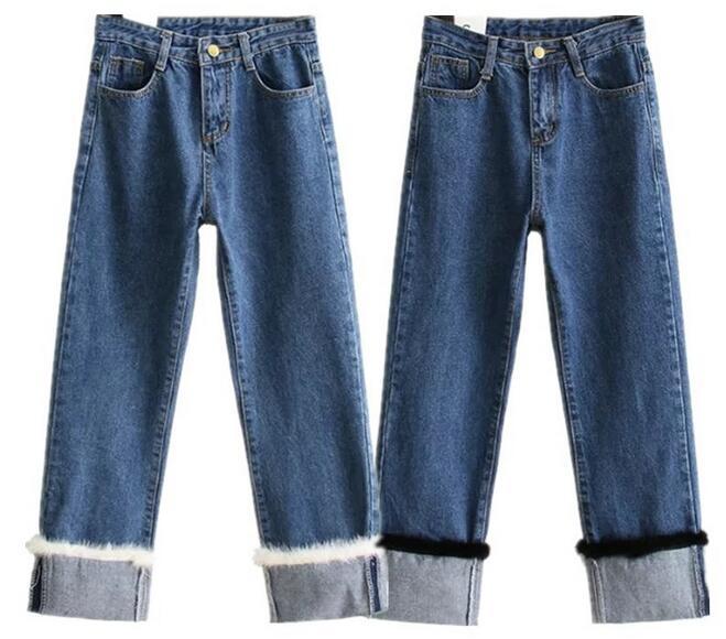 2017 new spring and summer fashion women s two color mink fur hem denim jeans wide