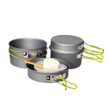 Kitchen Dining Bar Outdoor Camping Hiking Cookware Backpacking Cooking Picnic Bowl Pot Pan set free shipping wholesale A3