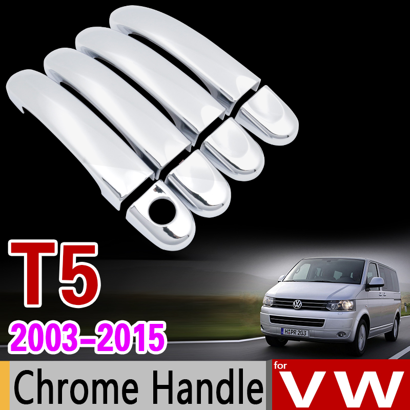 for VW T5 Chrome Handle Cover Trim Set for Volkswagen Transporter Caravelle Multivan California Accessories Stickers Car Styling nitro triple chrome plated abs mirror 4 door handle cover combo