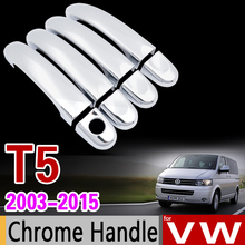Para Chrome Cubierta de La Manija de Corte Establecido para Volkswagen VW T5 Transporter Caravelle Multivan California Accesorios Pegatinas Car Styling