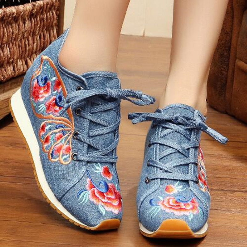 Retro Flower Embroider Lace up Canvas Shoes for Women Round Toe Ethnic Flat Autumn Ladies Loafers Runway Shoes Casual Sneakers 6