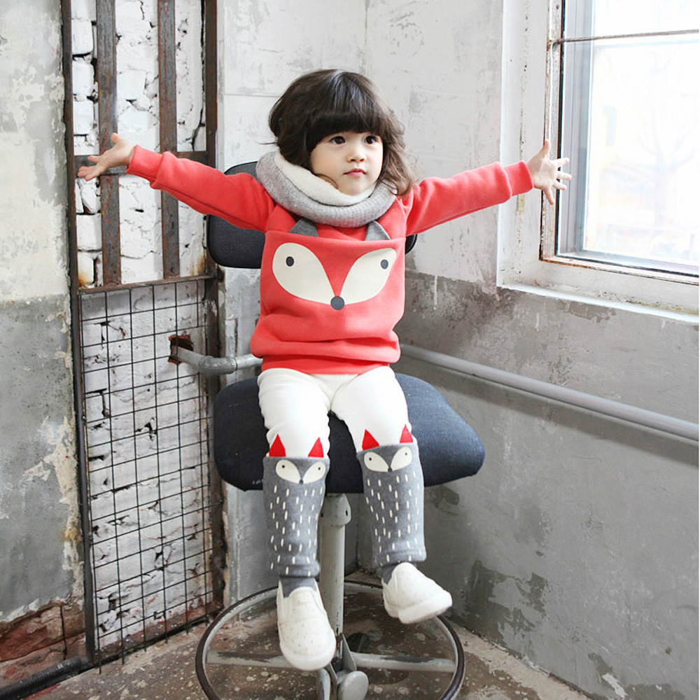 Free Shipping winter Baby Girls Lovely Children's Clothing 2PCS Red Add Thick Long Sleeve Pullover Tops Blouses + Fox Plant Sets