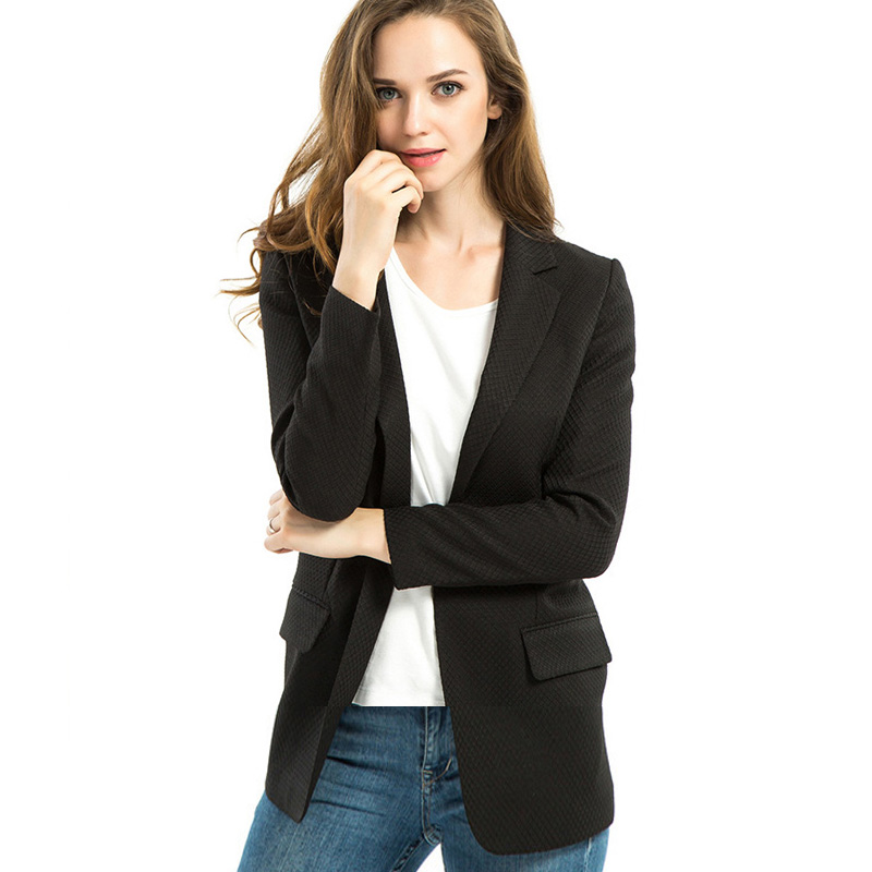 Women Business Blazers And Jackets 2015 Casual Suit Blazer Ladies Black Office Coats Wear To ...