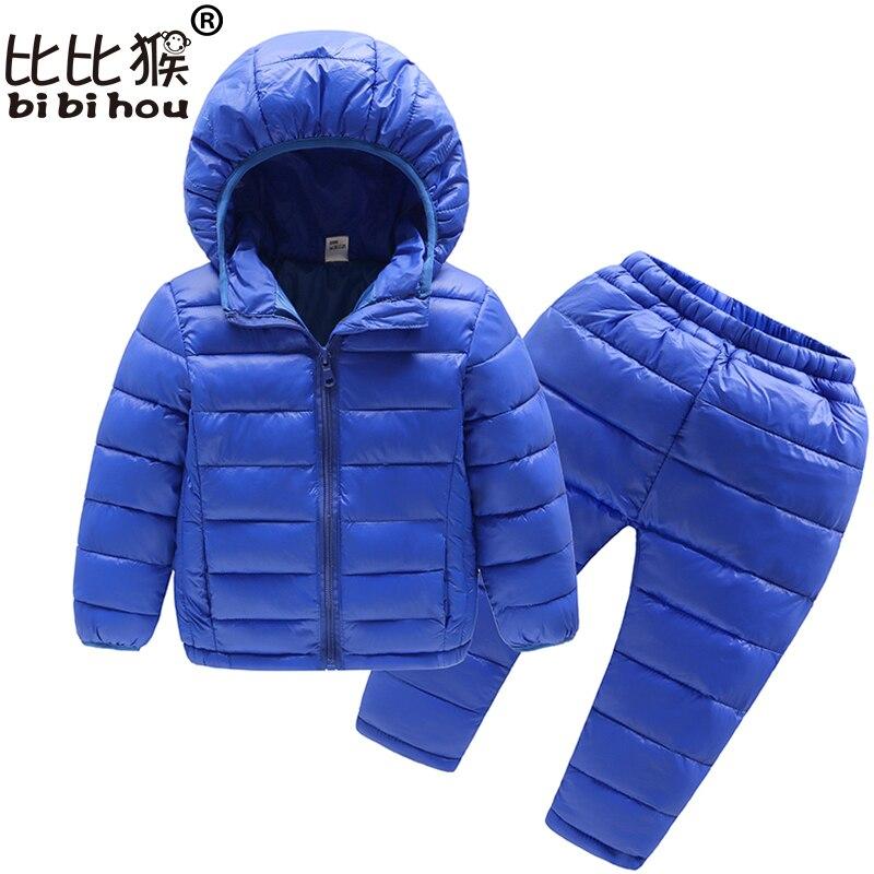 Bibihou Winter Kids Clothing Sets Warm Duck Down Jackets Clothing Sets Baby Girls & Baby Boys Down Coats Set With Pants 2PCS
