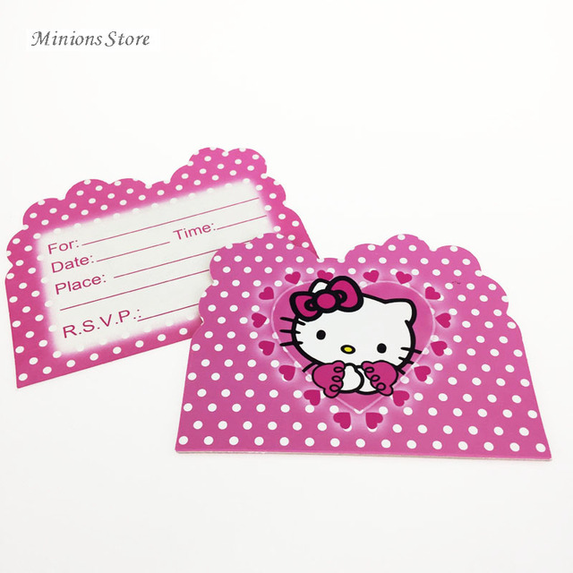 10pcslot hello kitty theme cartoon party kitty cat paper invitation 10pcslot hello kitty theme cartoon party kitty cat paper invitation card birthday party decorations stopboris Images