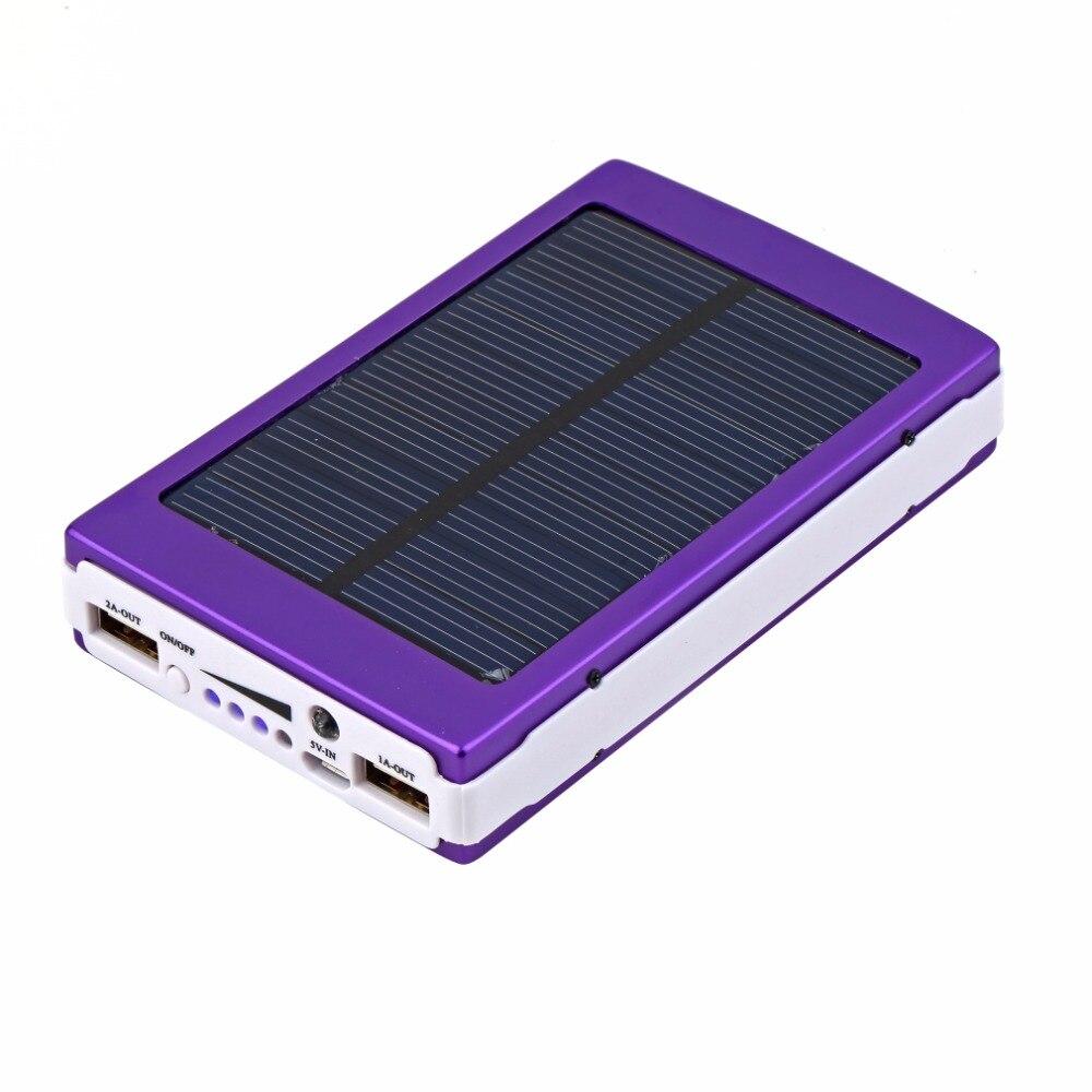 imágenes para 20000 mAh Banco de Potencia de Emergencia Portátil LED Super Cargador Solar Dual USB Power Bank Batería Externa Para Los Teléfonos Móviles y tabletas