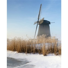 Laeacco Canvas Calligraphy Painting Windmill Winter Snow Natural Posters and Prints Wall Art Picture Living Room Home Decoration