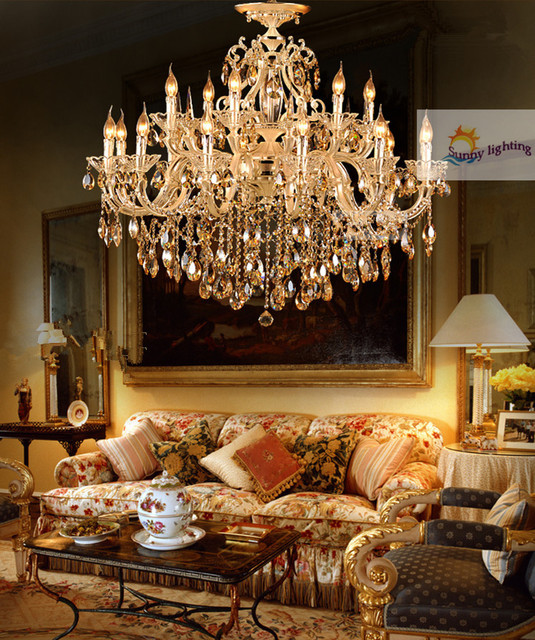 Antique Gold Crystal Chandelier Lamps Led Chandeliers Italy Hanging Lighting Hotel Villa 15 Lights Candle Holders