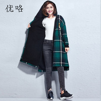 4XL 5XL 6XL Plus Size Coat For Women Art Cartoon Printed Plaid Hoodie Cardigan Coat Womens Casual Loose Long Jackets Coats 2018