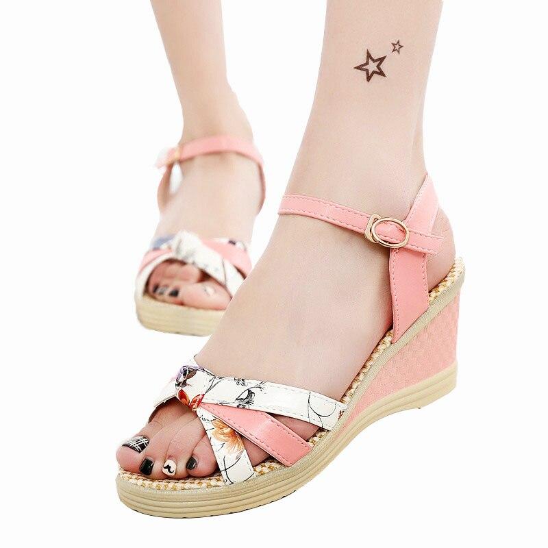 Envío gratis Mujeres Sandas 2018 verano para mujer zapatos cuñas sandalias plataforma plataforma paja trenza color bloque de tacón alto