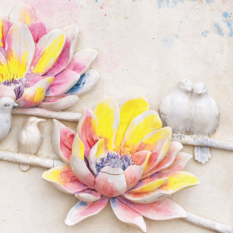 Classical Resin Birds and Flowers Room Decorative Triptych Wall ...