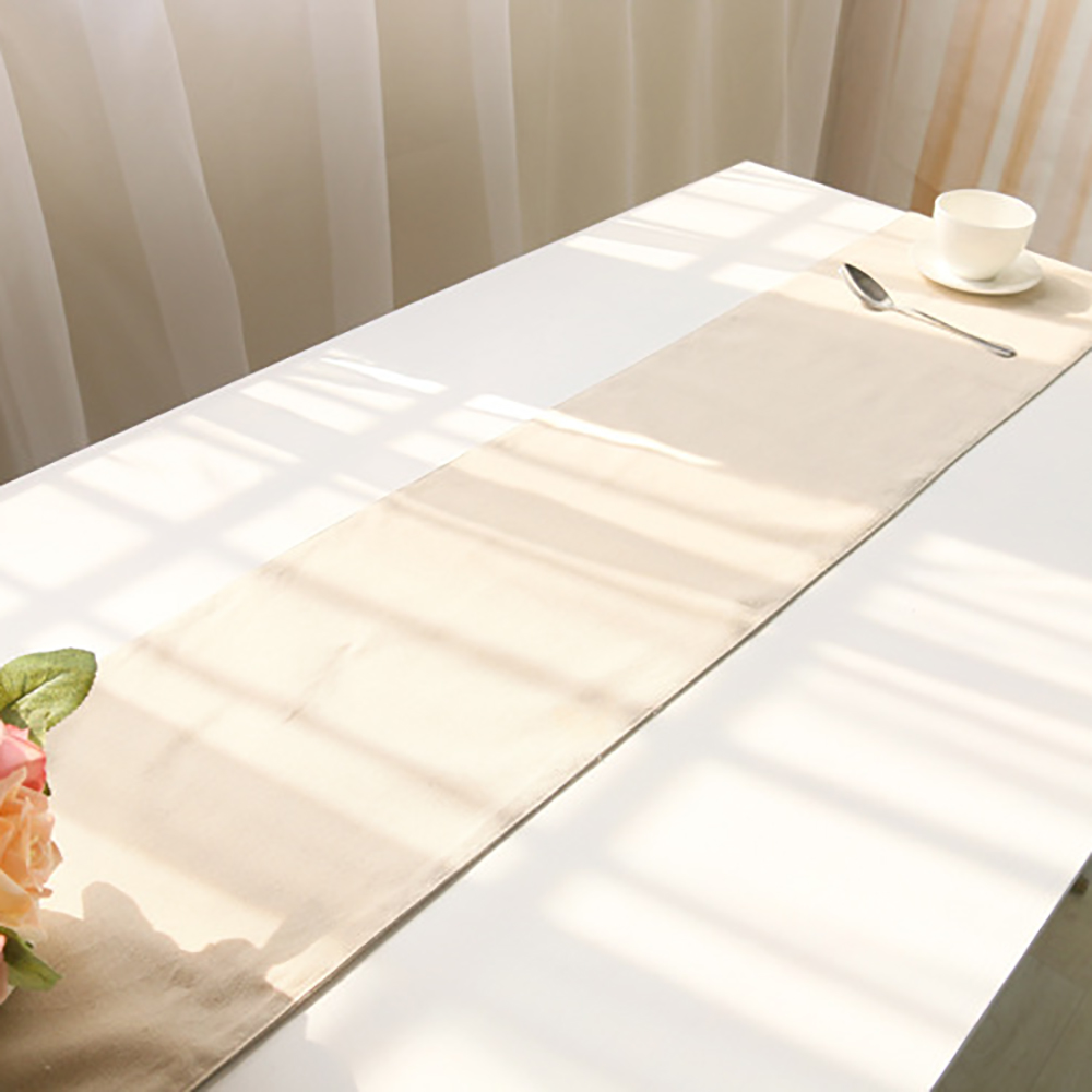Lychee Solid Color Table Runner Simple Style Cotton Linen Table Runner For Wedding Party Home
