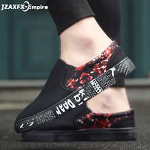 Men Casual Shoes Print Flat Loafers For Male Low Top Footwear Shoes Slip-on Spring Summer Flats Men Shoes Breathable spring men low top casual shoes lace up loafers breathable sneakers youth popular shoes male flats black red 01b
