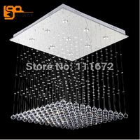 New Rectangle Modern Crystal Chandelier Living Room Lamp With 9 LED Lights L600 W600 H800mm