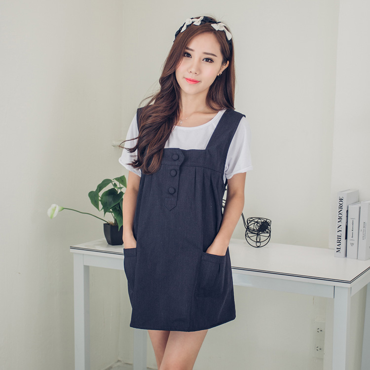 Korean version of the genuine metal radiation clothing anti-radiation pockets button dress maternity dress